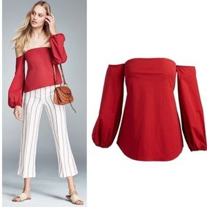 NWT Theory Laureema Off The Shoulder Red Blouse